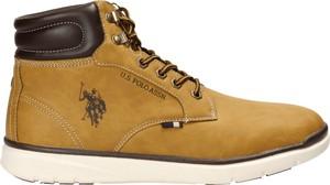 Brązowe buty zimowe U.S. Polo ze skóry ekologicznej w sportowym stylu sznurowane