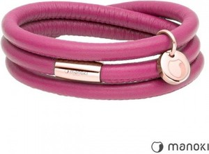 Manoki BA542RP różowa bransoletka damska ze skóry, fuksja