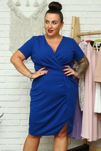 Niebieska sukienka KARKO kopertowa z krótkim rękawem mini