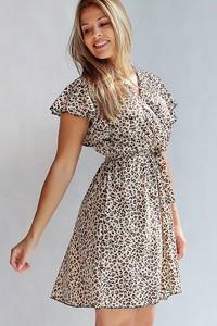 Brązowa sukienka Endoftheday mini kopertowa z dekoltem w kształcie litery v