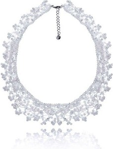 POLSKA Uroczy ślubny komplet biżuterii w stylu Glamour biały: naszyjnik, bransoletka i kolczyki