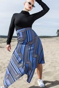 Niebieska spódnica REST_FActory midi z tkaniny