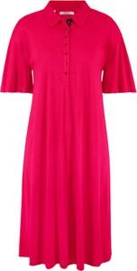 Sukienka bonprix bpc bonprix collection z kołnierzykiem z krótkim rękawem trapezowa