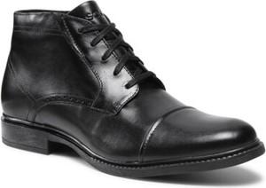 Czarne buty zimowe Lasocki ze skóry