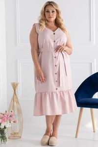 Różowa sukienka KARKO z lnu z krótkim rękawem