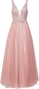 Różowa sukienka Unique maxi z dekoltem w kształcie litery v