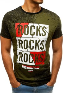 Zielony t-shirt Dstreet z bawełny z krótkim rękawem z nadrukiem