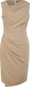 Turkusowa sukienka Camill Fashion z asymetrycznym dekoltem bez rękawów