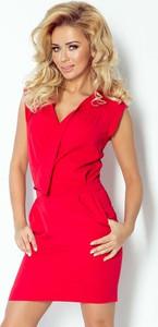 Czerwona sukienka NUMOCO z dekoltem w kształcie litery v
