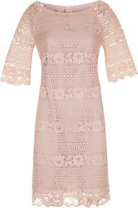 Różowa sukienka poza.pl z długim rękawem z bawełny