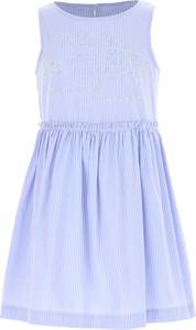 Niebieska sukienka dziewczęca Ermanno Scervino z bawełny