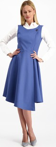 Niebieska sukienka Lavard z bawełny z okrągłym dekoltem