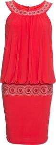 Czerwona sukienka bonprix BODYFLIRT z dekoltem halter