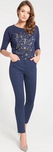 Granatowe jeansy QUIOSQUE w street stylu z jeansu