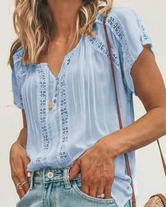 Niebieska bluzka Kendallme z krótkim rękawem