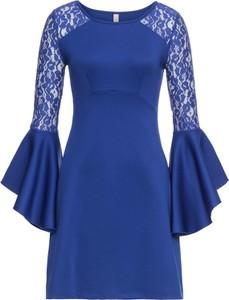 Niebieska sukienka bonprix bodyflirt boutique trapezowa midi