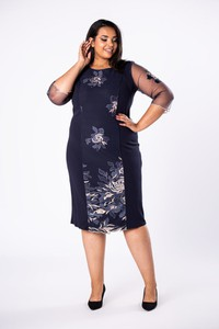 Sukienka Moda Dla Ciebie midi ołówkowa z okrągłym dekoltem