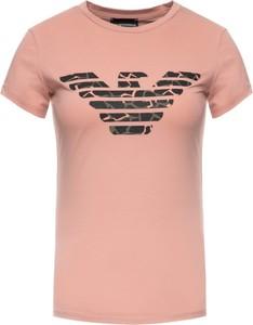 Różowy t-shirt Emporio Armani z okrągłym dekoltem z krótkim rękawem