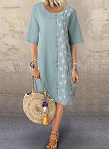 Sukienka Cikelly z długim rękawem w stylu casual z okrągłym dekoltem