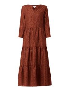 Brązowa sukienka Mint & Mia z lnu z długim rękawem