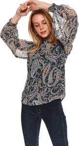 Bluzka Top Secret z tkaniny z okrągłym dekoltem z długim rękawem