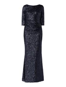 Granatowa sukienka Paradi z długim rękawem maxi