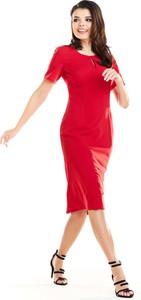 Czerwona sukienka Awama midi z krótkim rękawem z okrągłym dekoltem