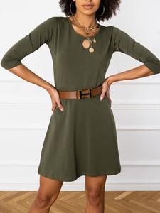 Zielona sukienka Sheandher.pl w stylu casual z długim rękawem z bawełny