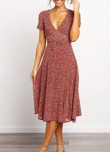 Czerwona sukienka Cikelly midi kopertowa