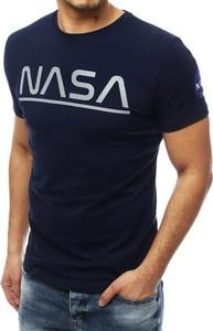 Granatowy t-shirt Dstreet z krótkim rękawem z nadrukiem