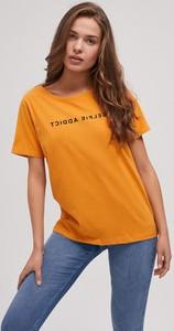 Pomarańczowy t-shirt Diverse z krótkim rękawem z zamszu