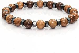 Em Men`s Accessories Bransoletka koraliki w kolorze brązowym EM 42