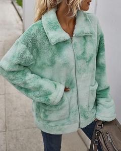 Kendallme Pluszowy płaszcz z puszystymi kieszeniami nadrukiem krawatowym kurtka zielony