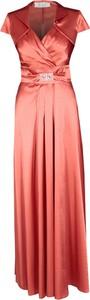 Pomarańczowa sukienka Fokus z bawełny maxi rozkloszowana