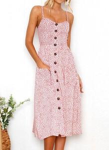 Różowa sukienka Sandbella w stylu boho z dekoltem w kształcie litery v na ramiączkach