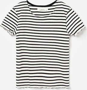 Czarna koszulka dziecięca Reserved w paseczki z bawełny