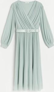 Turkusowa sukienka Reserved z dzianiny z długim rękawem z dekoltem w kształcie litery v