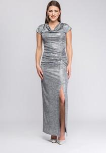 Srebrna sukienka Semper maxi z krótkim rękawem prosta