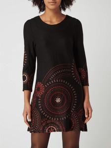 Czarna sukienka APRICOT z długim rękawem w stylu casual z okrągłym dekoltem