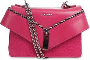 Różowa torebka Diesel mała ze skóry w stylu casual