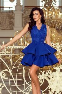 Niebieska sukienka NUMOCO z dekoltem w kształcie litery v rozkloszowana bez rękawów