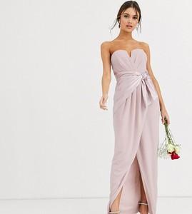 Brązowa sukienka Tfnc z satyny maxi