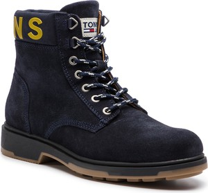 Niebieskie buty zimowe Tommy Jeans ze skóry