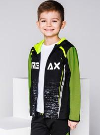 Ombre clothing bluza dziecięca rozpinana z kapturem kb020 - czarna/seledynowa