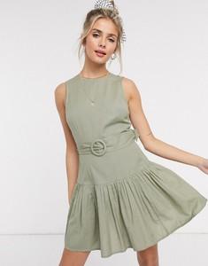 Zielona sukienka Asos z bawełny mini