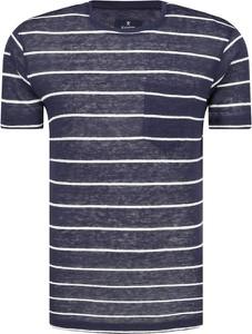 T-shirt Hackett London w stylu casual z krótkim rękawem z lnu