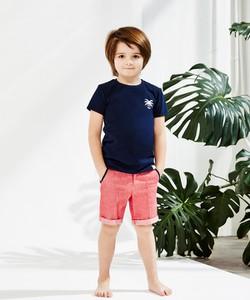 Niebieska koszulka dziecięca Banana Kids z krótkim rękawem z bawełny