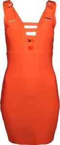 Pomarańczowa sukienka Marciano ołówkowa w stylu casual z tkaniny