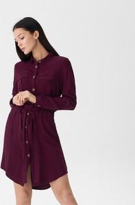 Fioletowa sukienka House w stylu casual koszulowa z długim rękawem