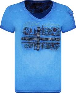 Niebieski t-shirt Geographical Norway z bawełny